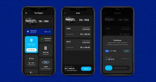 Aplicativo de Zona Azul permite o pagamento de IPVA de São Paulo. (Fonte: Zul Digital/Reprodução)